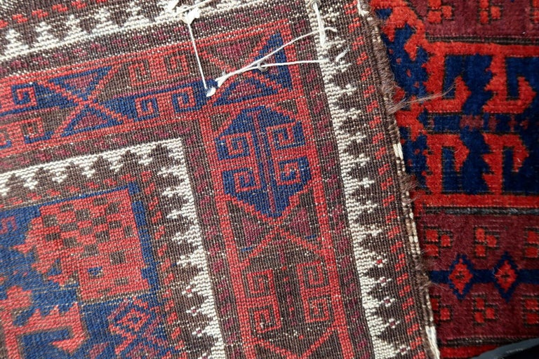 Early 20th Century Handmade Antique Afghan Baluch Rug, 1900s, 1P29 For Sale