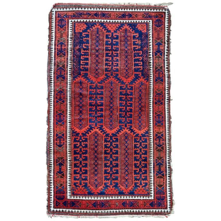 Handmade Antique Afghan Baluch Rug, 1900s, 1P29 For Sale
