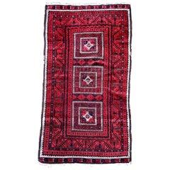 Handmade Antique Afghan Baluch Rug, 1900s, 1P48