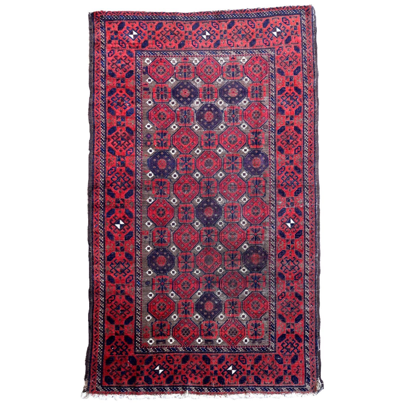 Handmade Antique Afghan Baluch Rug, 1900s, 1P77