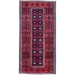 Handmade Antique Afghan Baluch Rug, 1900s, 1P81