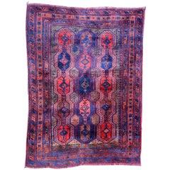 Handmade Antique Afghan Baluch Rug, 1900s, 1P83