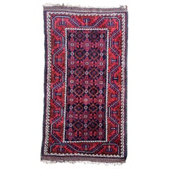 Handmade Antique Afghan Baluch Rug, 1940s, 1P91