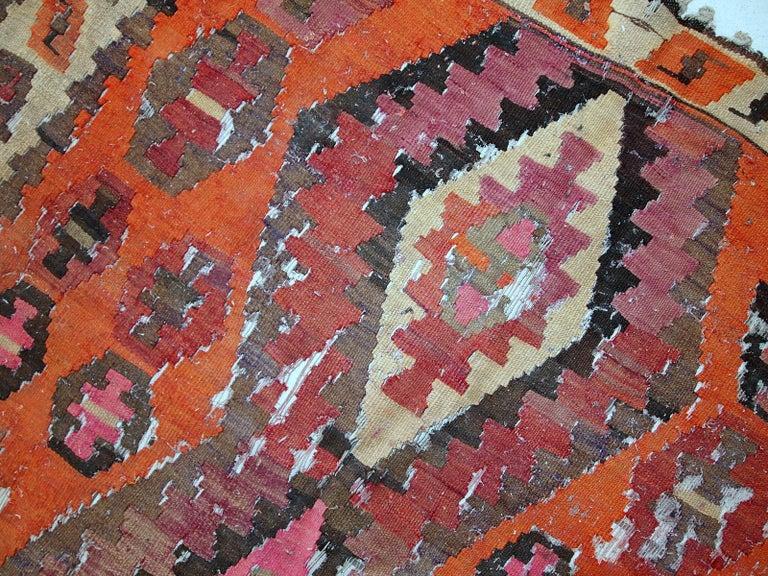 Handmade Antique Afghan Distressed Kilim, 1900s, 1C699 For Sale 4