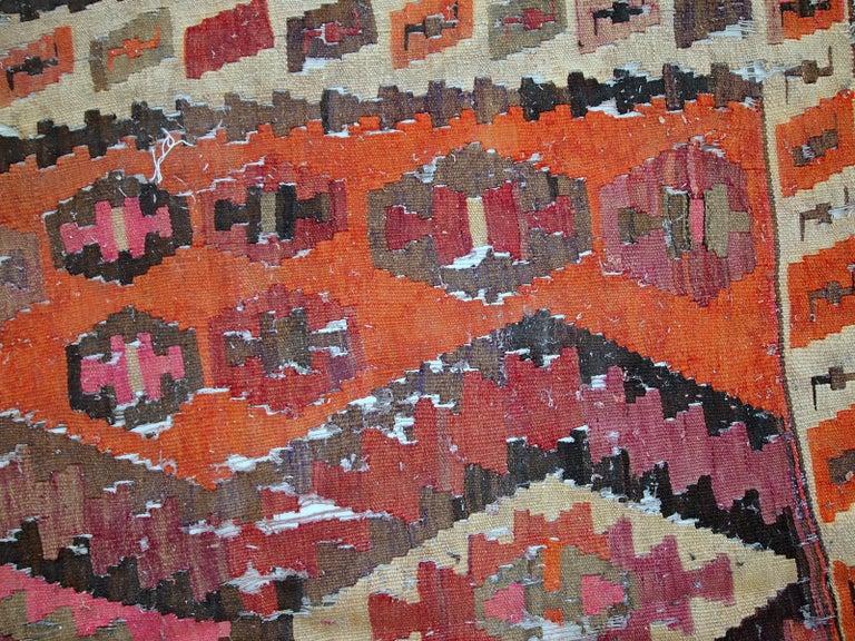 Handmade Antique Afghan Distressed Kilim, 1900s, 1C699 For Sale 5