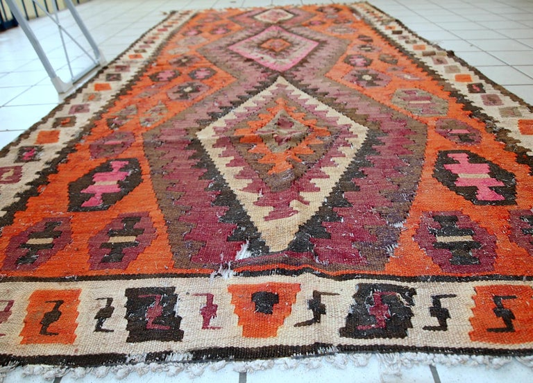 Hand-Knotted Handmade Antique Afghan Distressed Kilim, 1900s, 1C699 For Sale