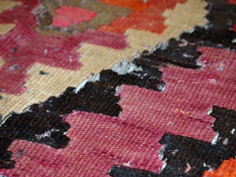 Handmade Antique Afghan Distressed Kilim, 1900s, 1C699 In Distressed Condition For Sale In Bordeaux, FR