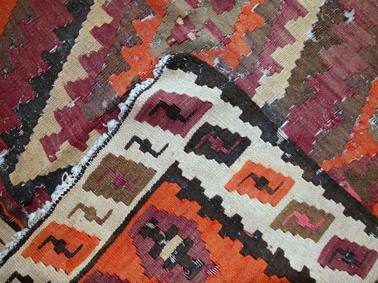 Early 20th Century Handmade Antique Afghan Distressed Kilim, 1900s, 1C699 For Sale