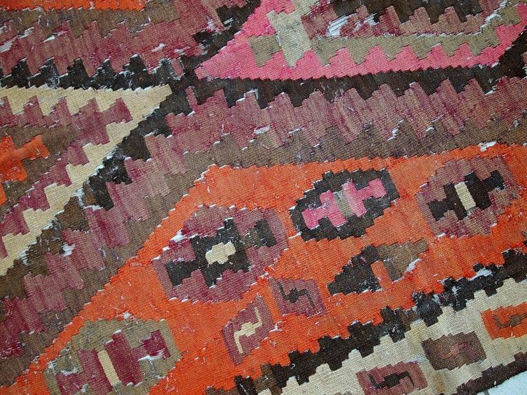 Wool Handmade Antique Afghan Distressed Kilim, 1900s, 1C699 For Sale