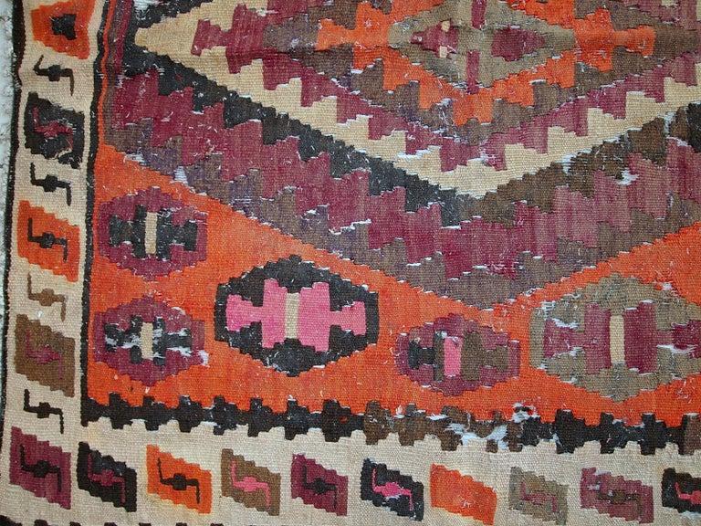 Handmade Antique Afghan Distressed Kilim, 1900s, 1C699 For Sale 1