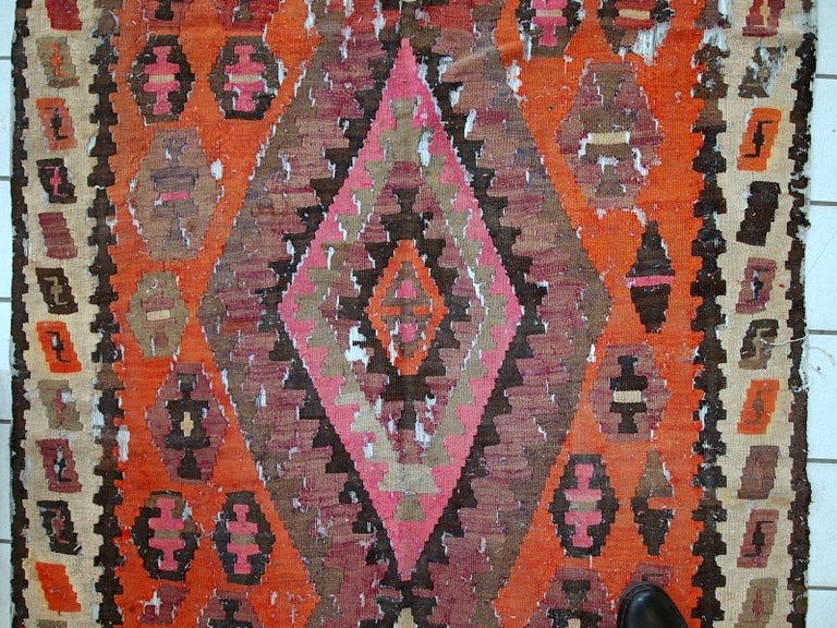 Handmade Antique Afghan Distressed Kilim, 1900s, 1C699 For Sale 2