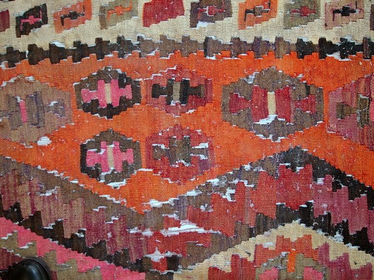 Handmade Antique Afghan Distressed Kilim, 1900s, 1C699 For Sale 3