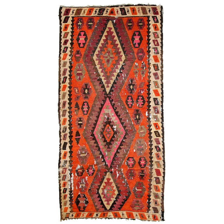 Handmade Antique Afghan Distressed Kilim, 1900s, 1C699 For Sale
