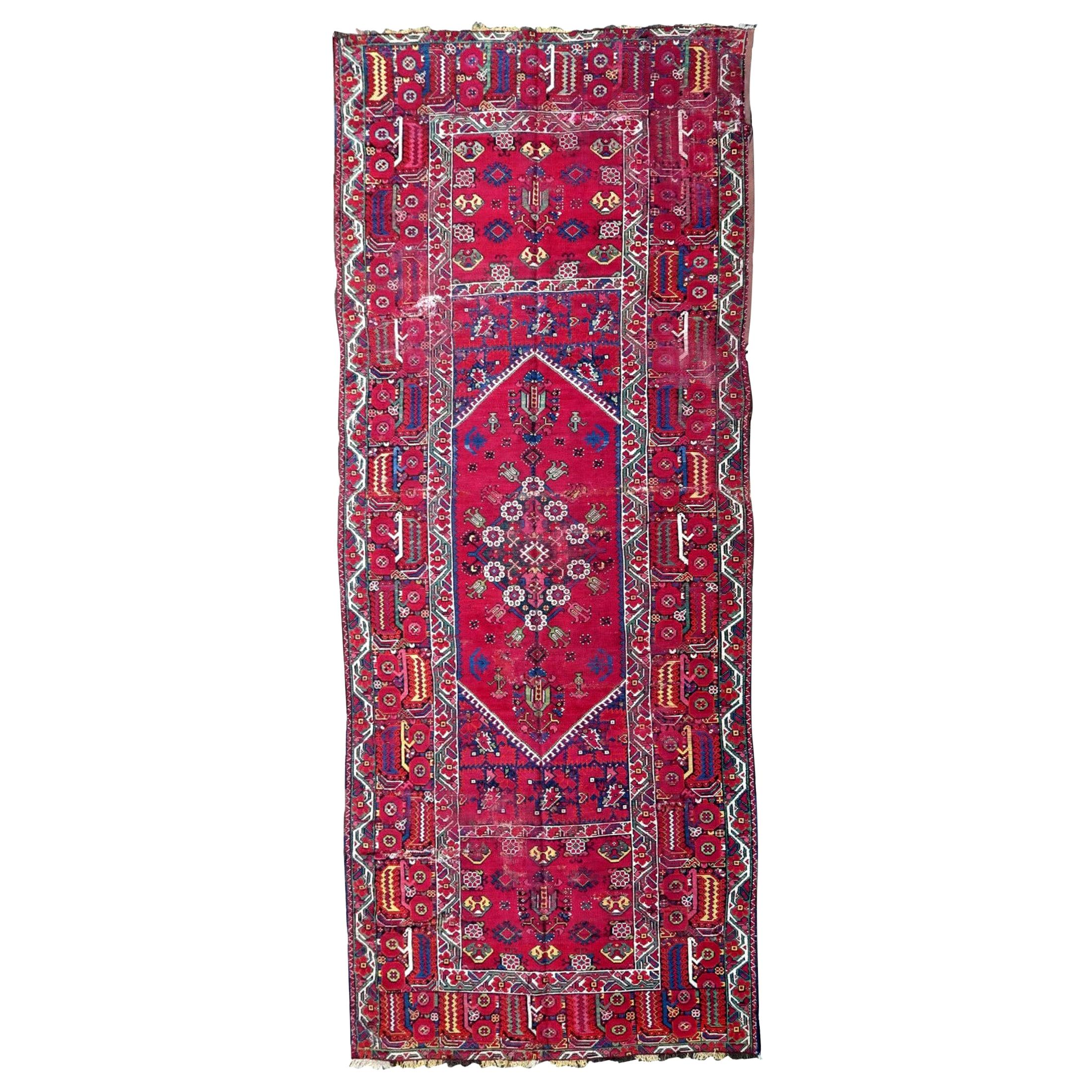 Handmade Antique Algerian Berber Collectible Rug, 1830s, 1P85