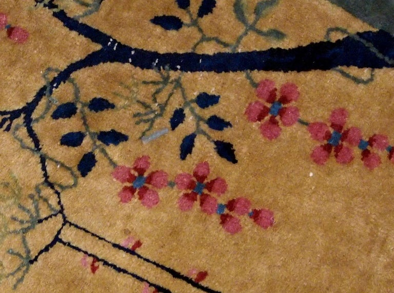 Hand-Knotted Handmade Antique Art Deco Chinese Rug, 1920s, 1B761 For Sale
