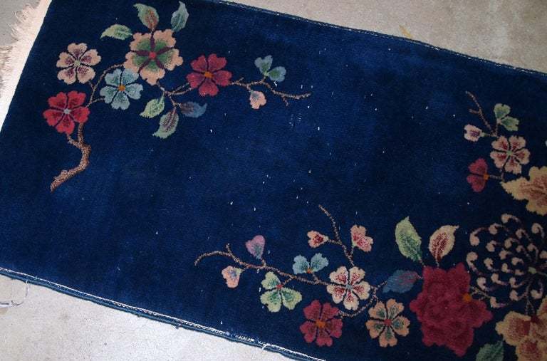 Early 20th Century Handmade Antique Art Deco Chinese Rug, 1920s, 1B763 For Sale