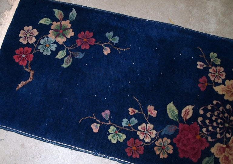 Wool Handmade Antique Art Deco Chinese Rug, 1920s, 1B763 For Sale