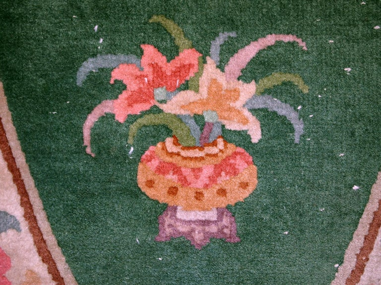 Handmade Antique Art Deco Chinese Rug, 1930s, 1C619 In Good Condition For Sale In Bordeaux, FR