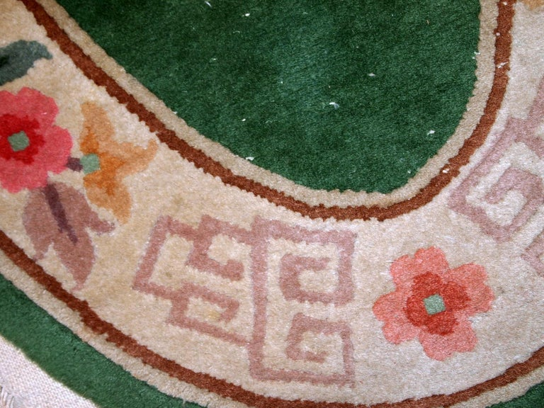 Mid-20th Century Handmade Antique Art Deco Chinese Rug, 1930s, 1C619 For Sale