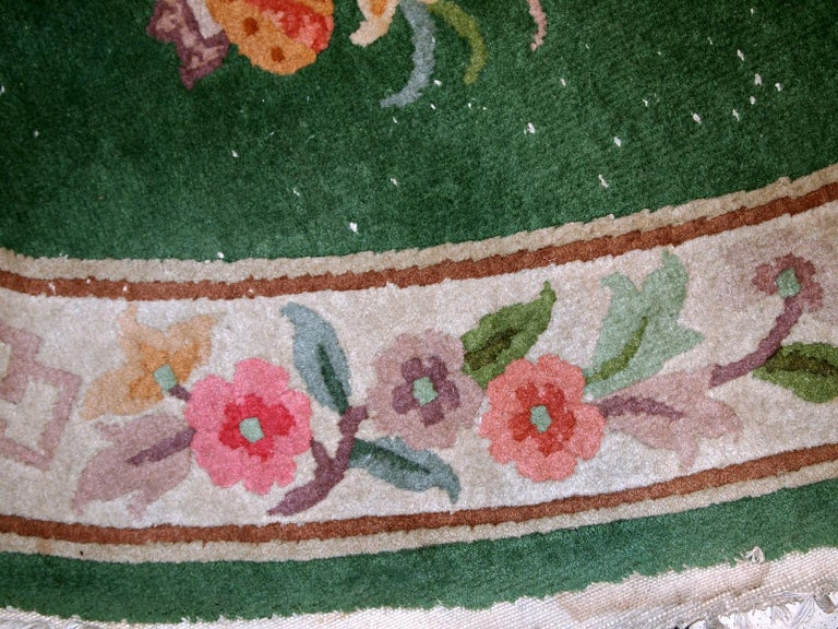 Wool Handmade Antique Art Deco Chinese Rug, 1930s, 1C619 For Sale