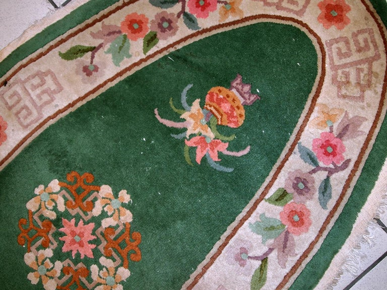 Handmade Antique Art Deco Chinese Rug, 1930s, 1C619 For Sale 1