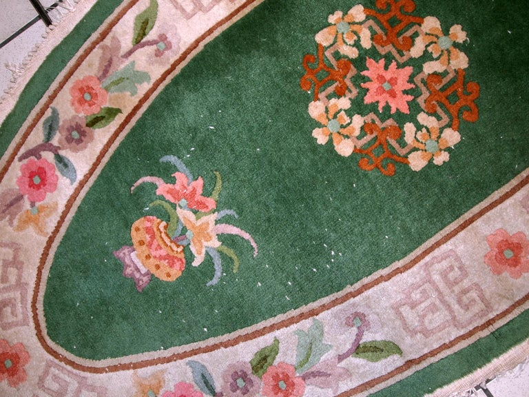 Handmade Antique Art Deco Chinese Rug, 1930s, 1C619 For Sale 2