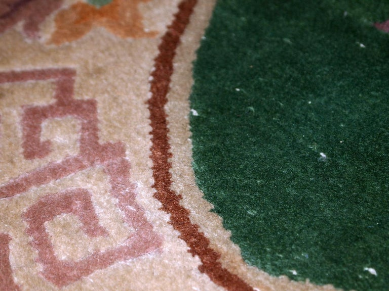 Handmade Antique Art Deco Chinese Rug, 1930s, 1C619 For Sale 3