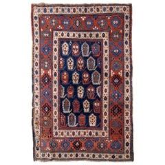 Handmade Antique Caucasian Kazak Rug, 1870s, 1B665