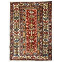Handmade Antique Caucasian Kazak Rug, Red Area Antique Rugs