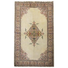 Handmade Antique Caucasian Rug, Cream And Beige Wool Oriental Living Room Rug