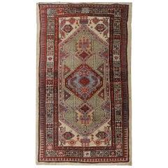 Handmade Antique Caucasian Rug, Oriental Deep Red and Beige Wool Rug for Bedroom