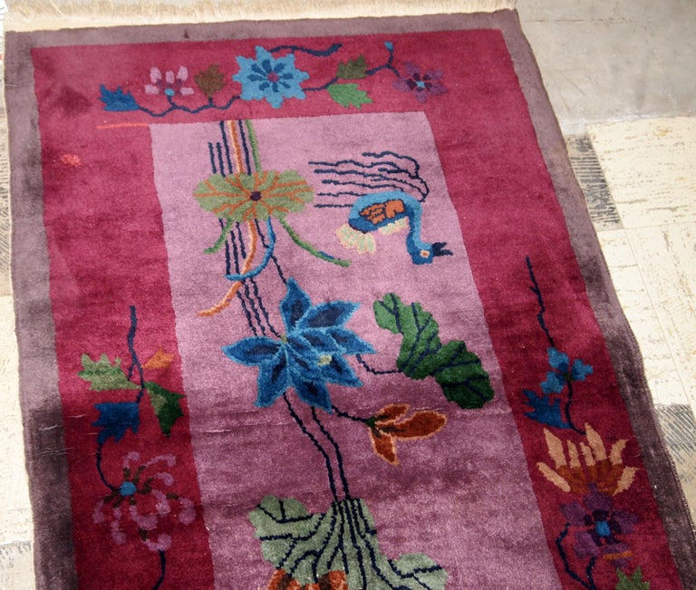 Hand-Knotted Handmade Antique Chinese Art Deco Rug, 1920s, 1B568 For Sale