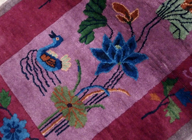 Wool Handmade Antique Chinese Art Deco Rug, 1920s, 1B568 For Sale