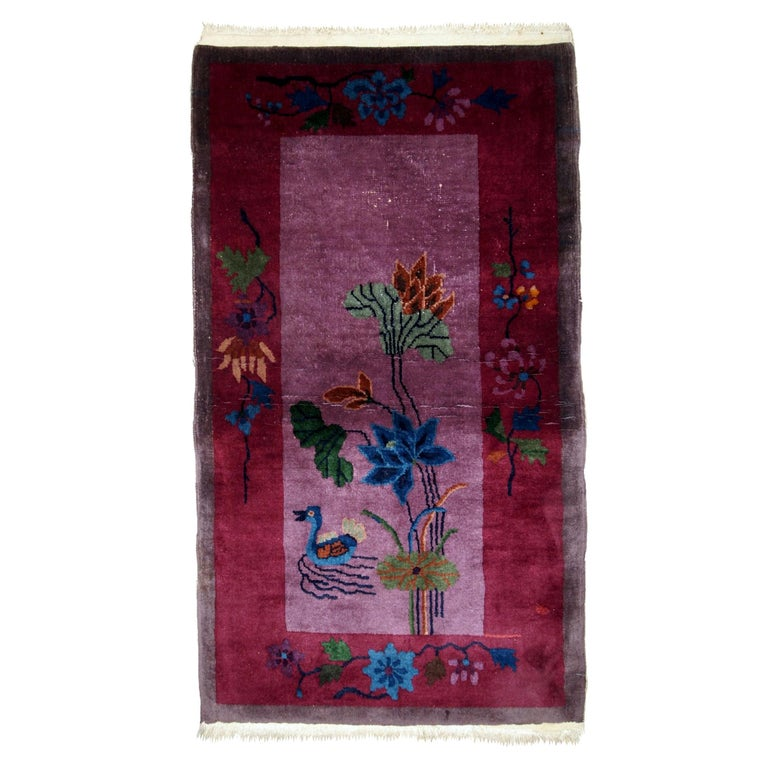 Handmade Antique Chinese Art Deco Rug, 1920s, 1B568 For Sale