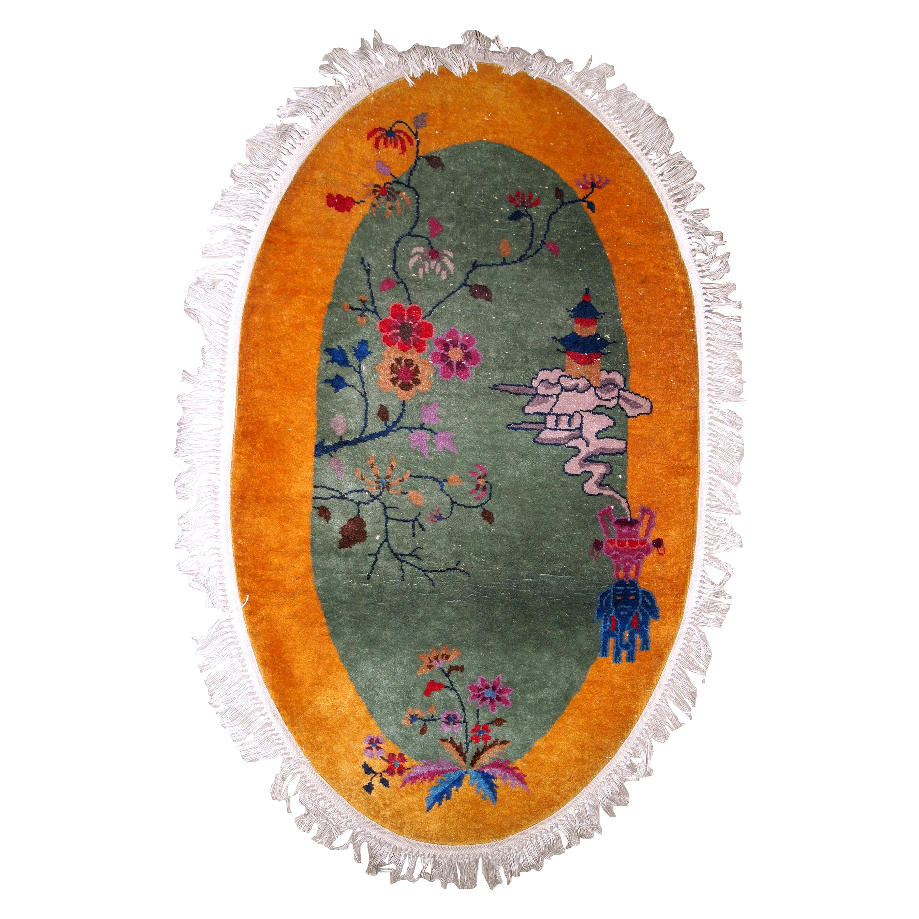 Handmade Antique Chinese Art Deco Rug, 1920s, 1B853