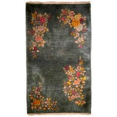 Handmade Antique Chinese Art Deco Rug, 1920s, 1B620