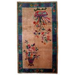 Handmade Antique Chinese Art Deco Rug, 1920s, 1B639