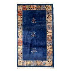 Handmade Antique Chinese Art Deco Rug, 1920s, 1B664