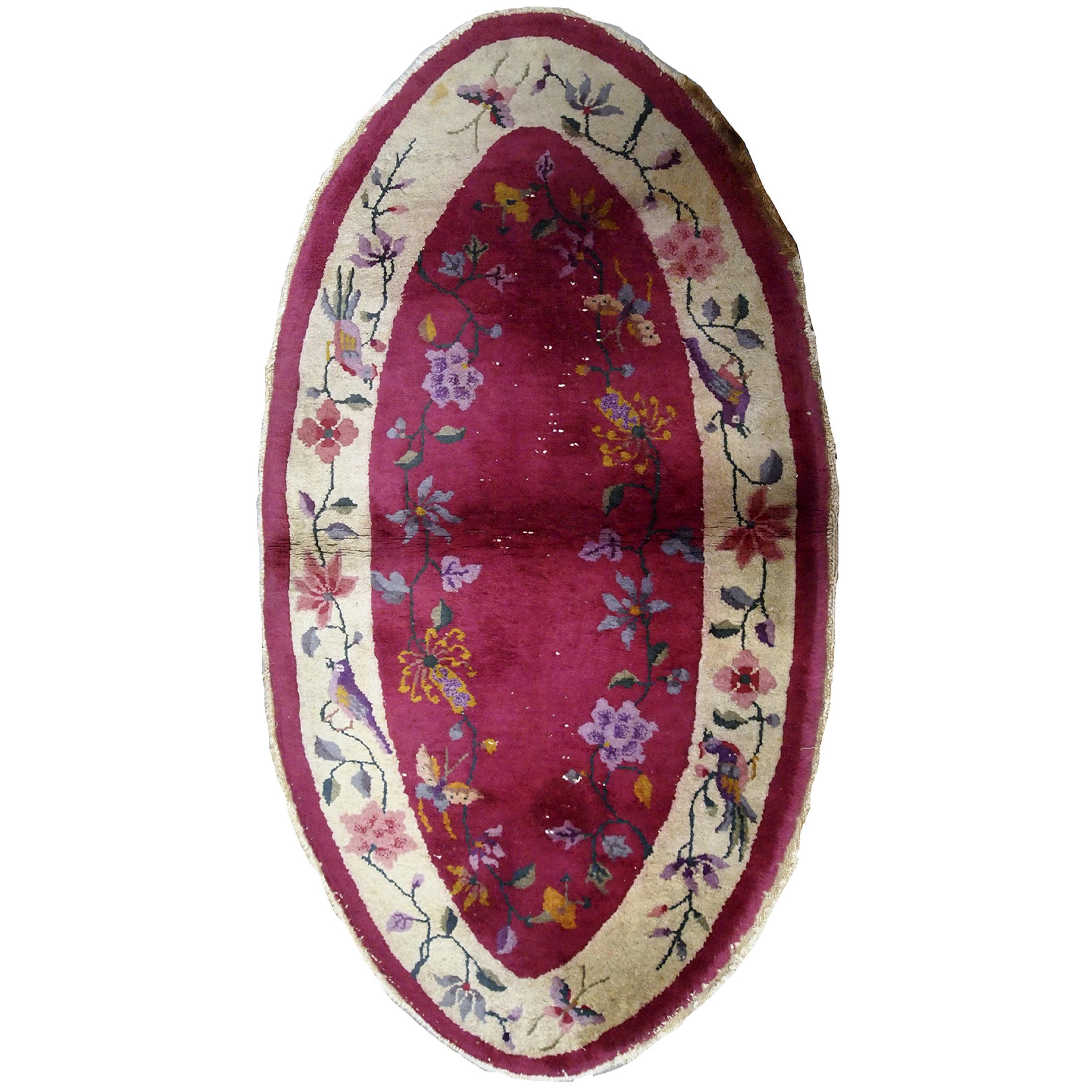 Handmade Antique Chinese Art Deco Rug, 1920s, 1B480