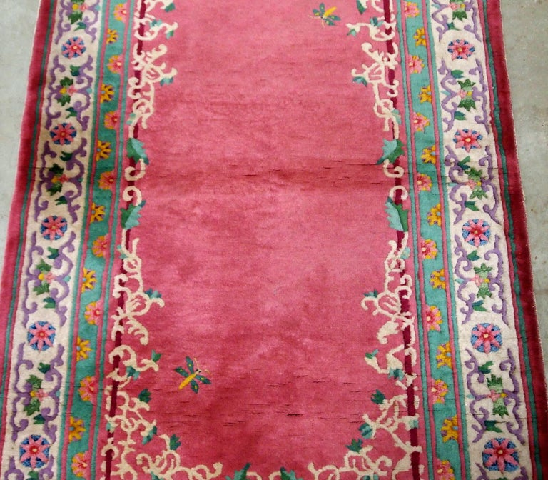 Handmade Antique Chinese Art Deco Rug, 1930s, 1B655 In Good Condition For Sale In Bordeaux, FR