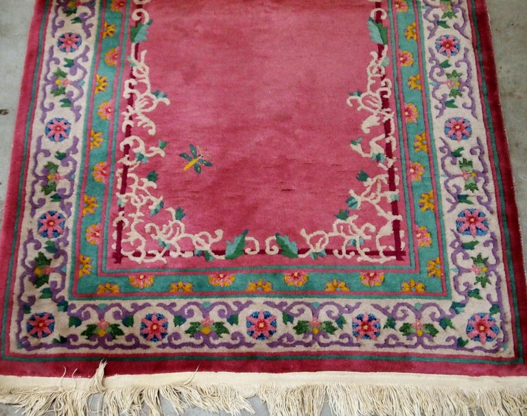 20th Century Handmade Antique Chinese Art Deco Rug, 1930s, 1B655 For Sale