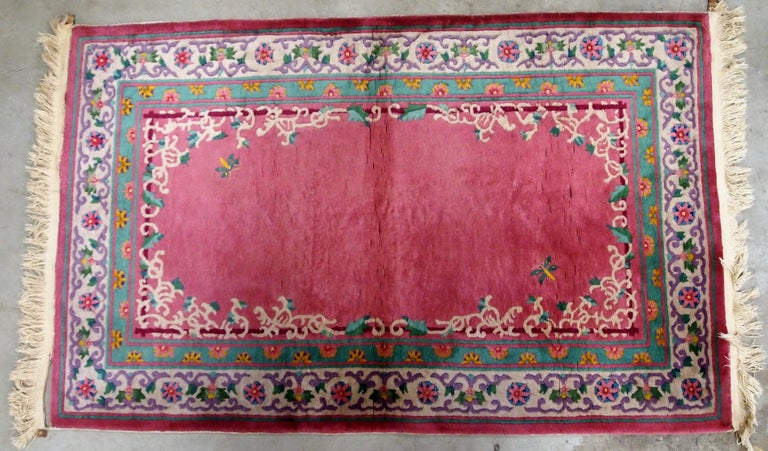 Handmade Antique Chinese Art Deco Rug, 1930s, 1B655 For Sale 2