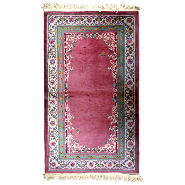 Handmade Antique Chinese Art Deco Rug, 1930s, 1B655 For Sale