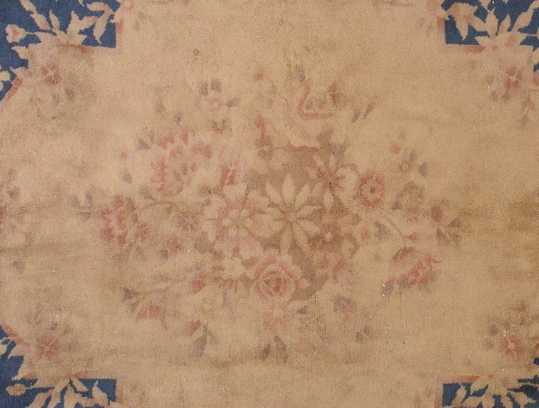 Hand-Knotted Handmade Antique Chinese Art Deco Rug, 1930s, 1L12 For Sale