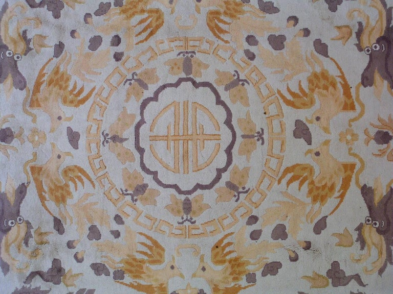 Handmade Antique Chinese Art Deco Rug, 1930s, 1L04 In Good Condition For Sale In Bordeaux, FR