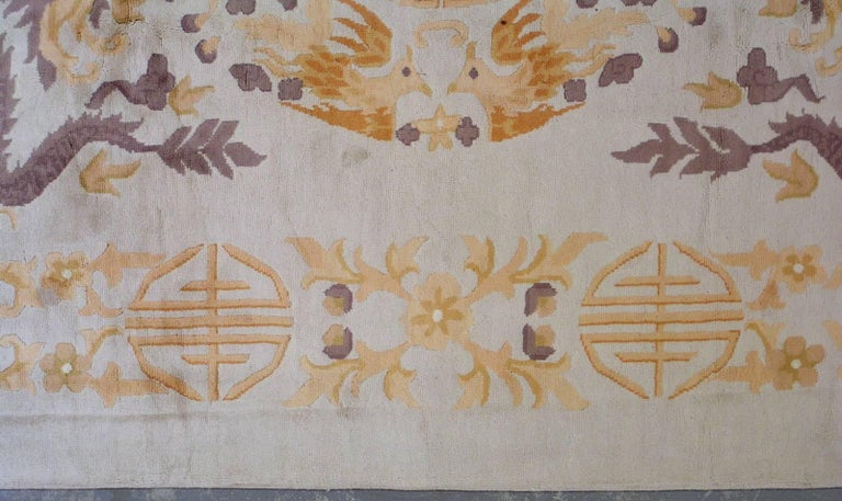 20th Century Handmade Antique Chinese Art Deco Rug, 1930s, 1L04 For Sale