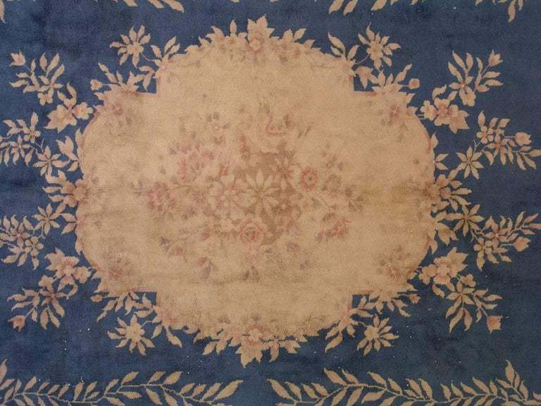 20th Century Handmade Antique Chinese Art Deco Rug, 1930s, 1L12 For Sale