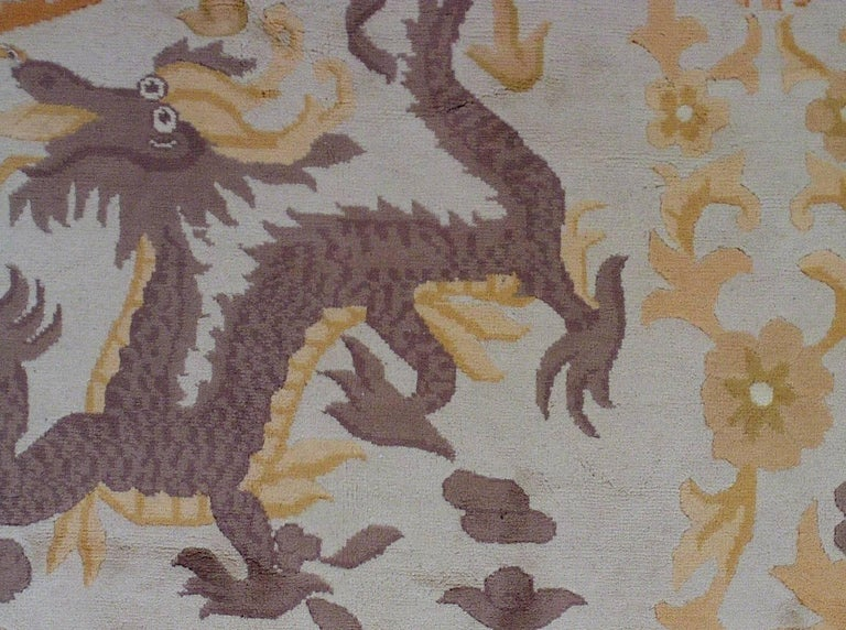 Wool Handmade Antique Chinese Art Deco Rug, 1930s, 1L04 For Sale