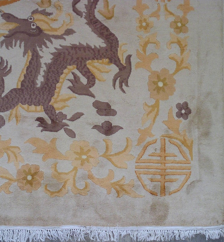 Handmade Antique Chinese Art Deco Rug, 1930s, 1L04 For Sale 1