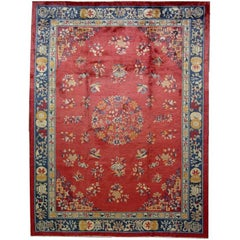 Handmade Antique Chinese Art Deco Rug, 1930s, 1L02